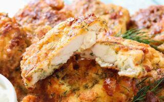 Рецепт курячих оладок з твердим сиром на кефірі