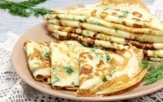 Рецепт млинців з твердим сиром та кропом
