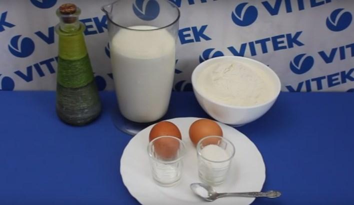 Молоко, олія, яйця, борошно, сіль, цукор